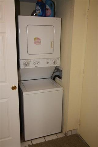 Unit is equipped with washer/dryer stack
