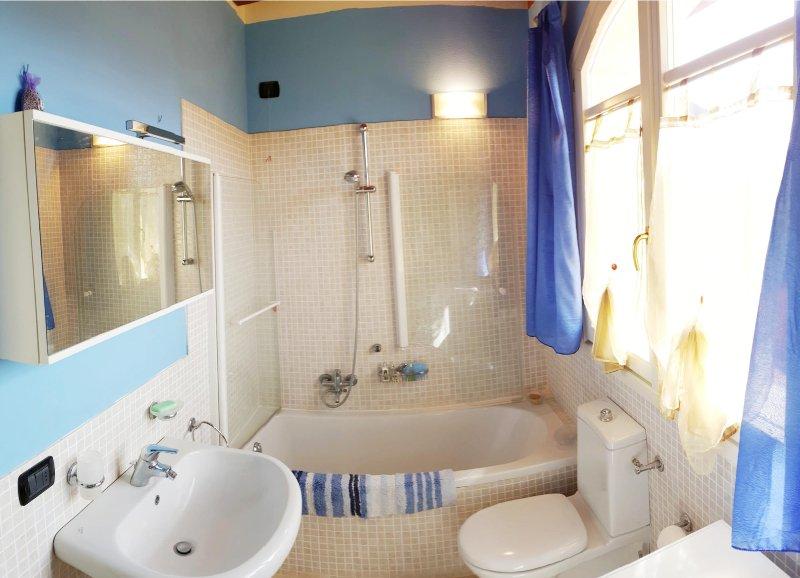 el cuarto de baño, con bañera, ducha, lavadora / secadora