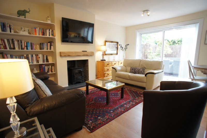 Open plan living room and kitchen with gas stove and free WI-FI