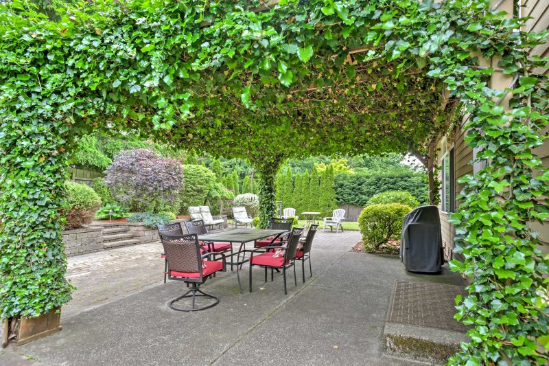 The stunning backyard offers the perfect place to enjoy the outdoors.