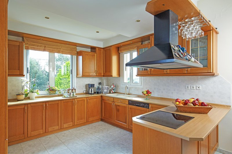 Open-plan fully equipped modern kitchen