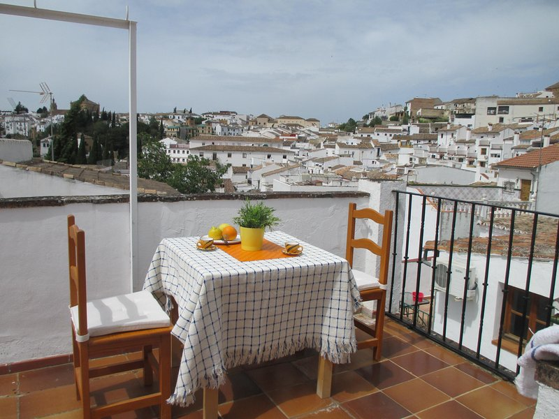 Stay poolside in a traditional town house with private roof terrace – semesterbostad i Ronda