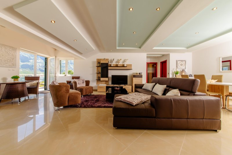 Open Plan Living/Dining Area with Breathtaking  Views of Boka Bay and Lovcen Mountains