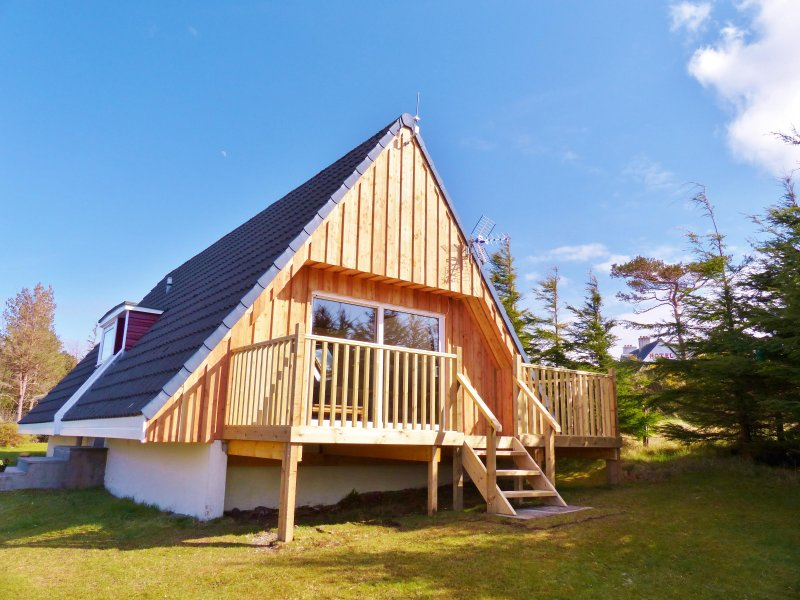 Lodge 1 - overlooking Aultbea and Loch Ewe. West facing balcony with patio doors from living room.