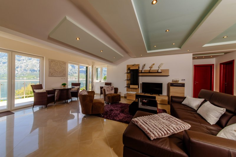 Open Plan Living Area with Breathtaking Views of Boka Bay and Lovcen Mountains