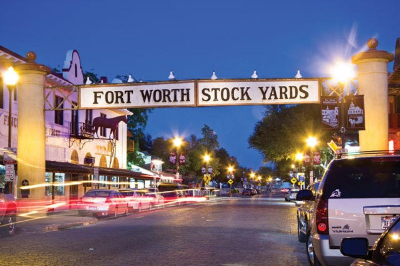 Stockyards in the evening.