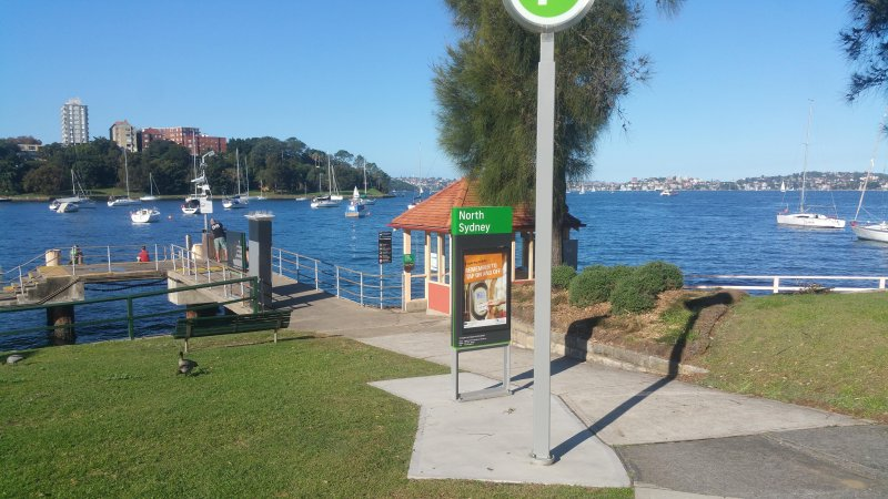 North Sydney ferry wharf is at the bottom of the street just a few minutes walk away