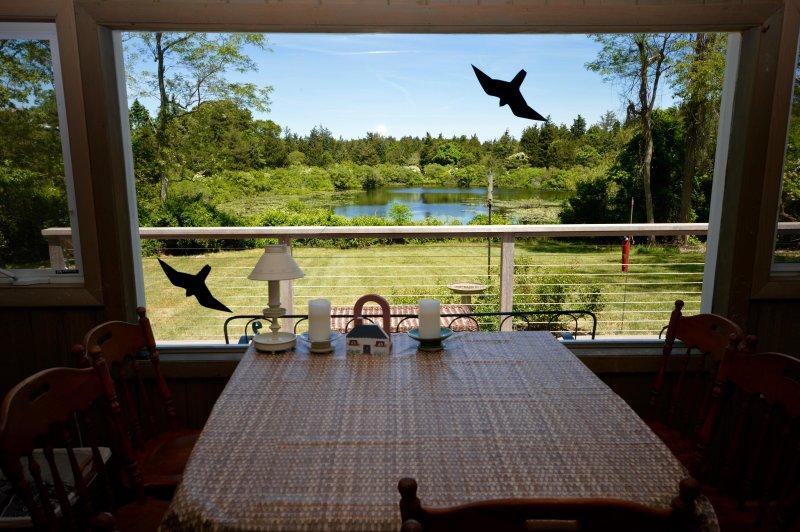 Mooi uitzicht van Kettle Pond van eettafel