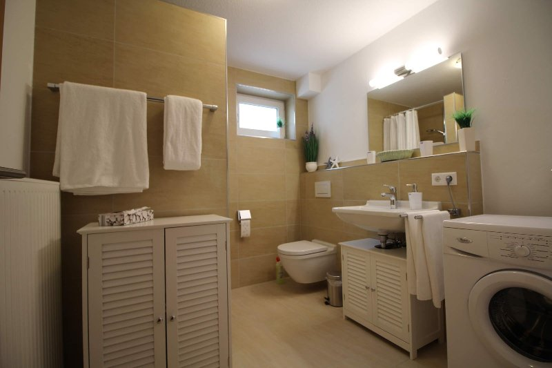 Bathroom with shower, toilet and washing machine