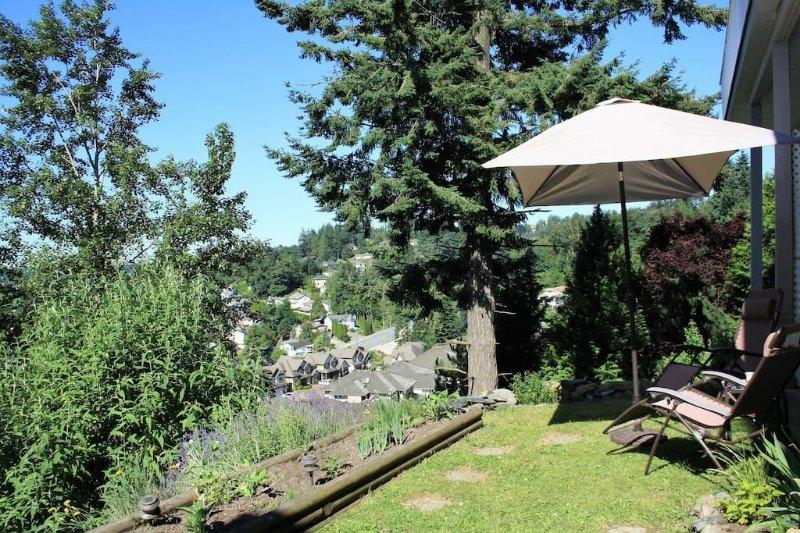 Entrée et vue sur la cour vers Lower Sumas région de la montagne et le mont Baker (États-Unis)
