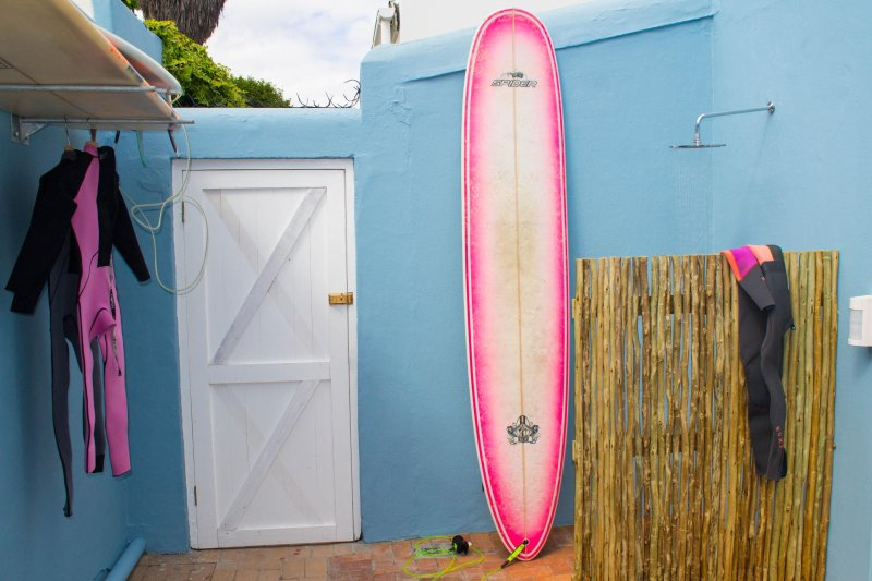 Back patio with shower for swimmers & surfers