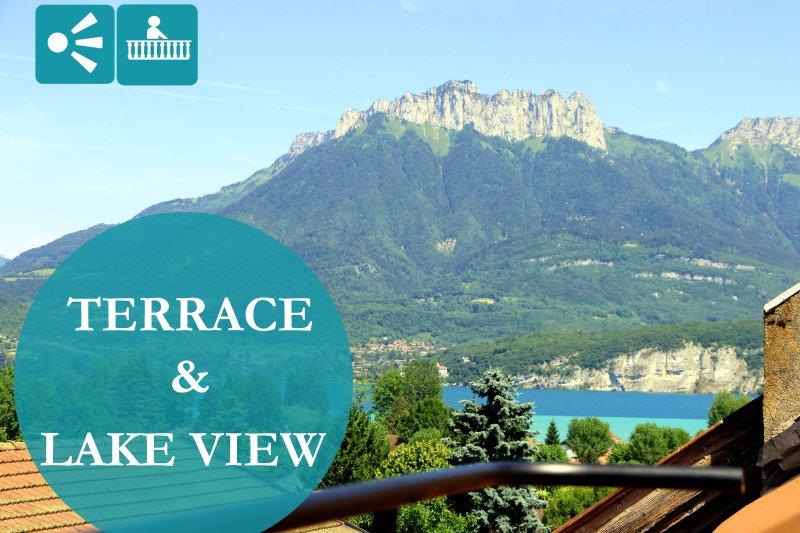 Terrazza con vista sul lago e montagna