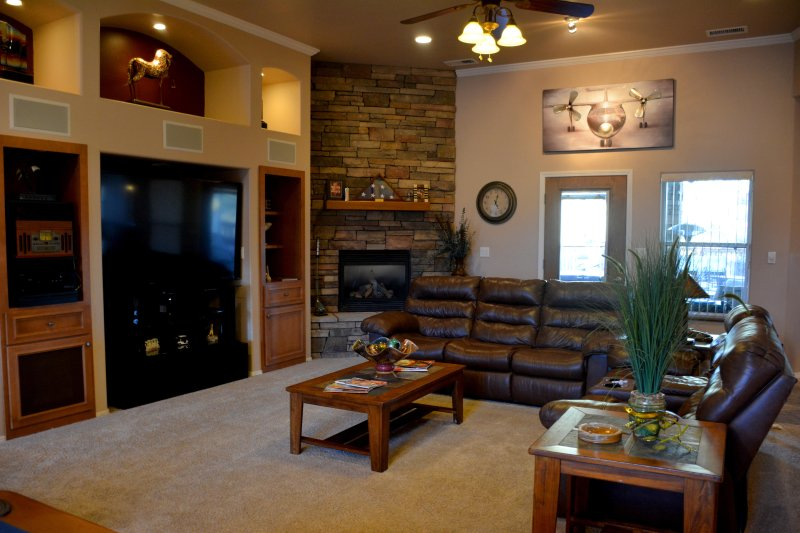 Cozy living room with easy access to outside patio