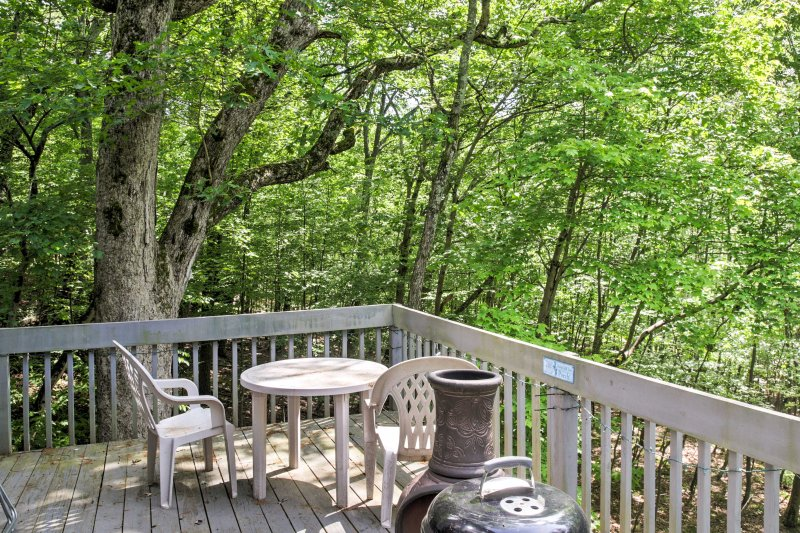 The back deck of this 3-bedroom, 2-bathroom home overlooks the dense woods.