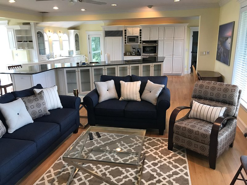 Open living with wood floors and new furniture