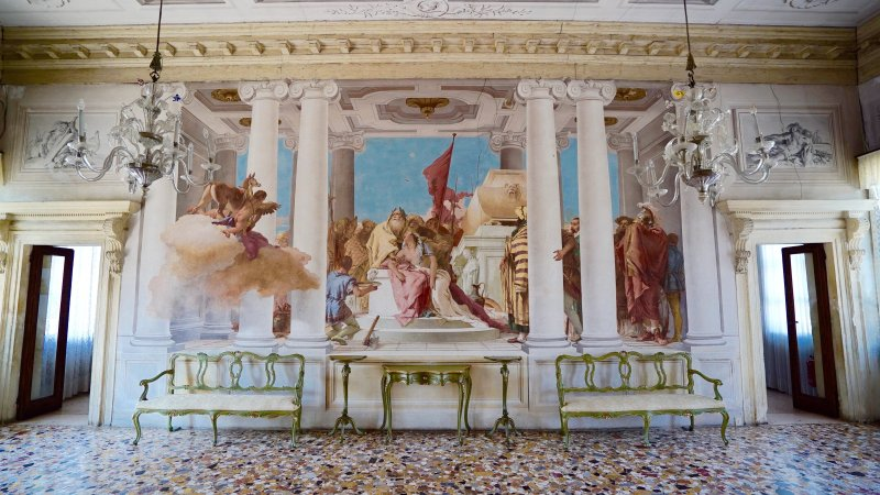 "The main room, called ""The Sacrifice of Iphigenia"", painted by GB Tiepolo"