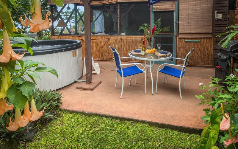 Patio with private hot tub, outdoor dining, gas-fired BBQ grill and yard