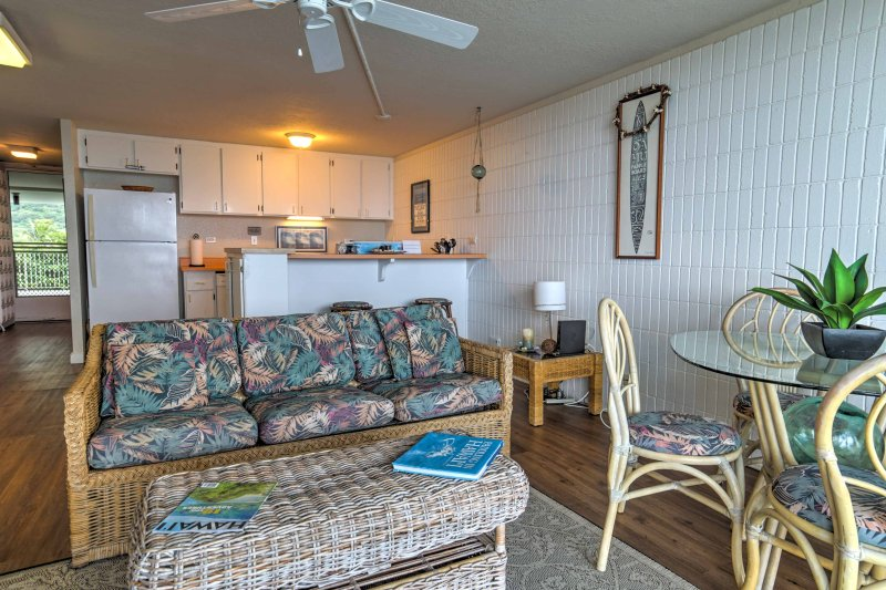 This 'Pat's at Punalu'u' property sleeps 2-4 and lies just steps from the beach!