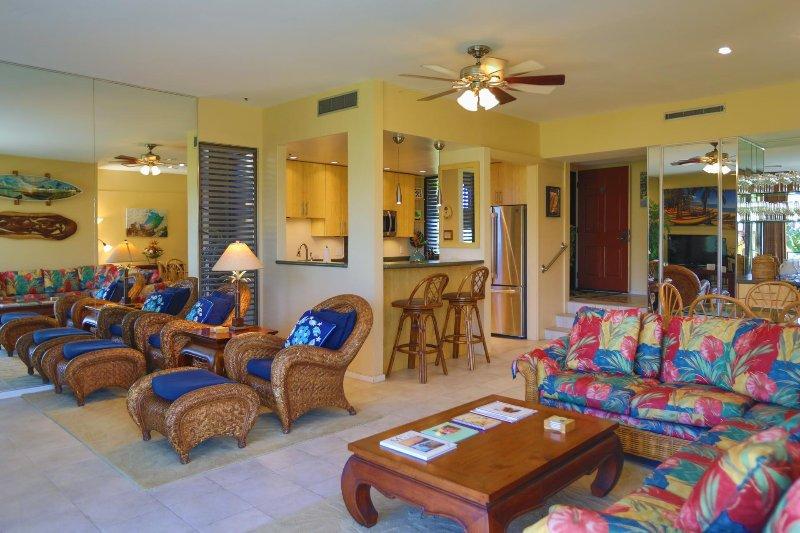 mobilier tropical merveilleux et ventilateurs de plafond dans le condo