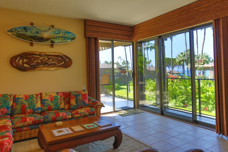 Living room entry out to the lanai (patio)