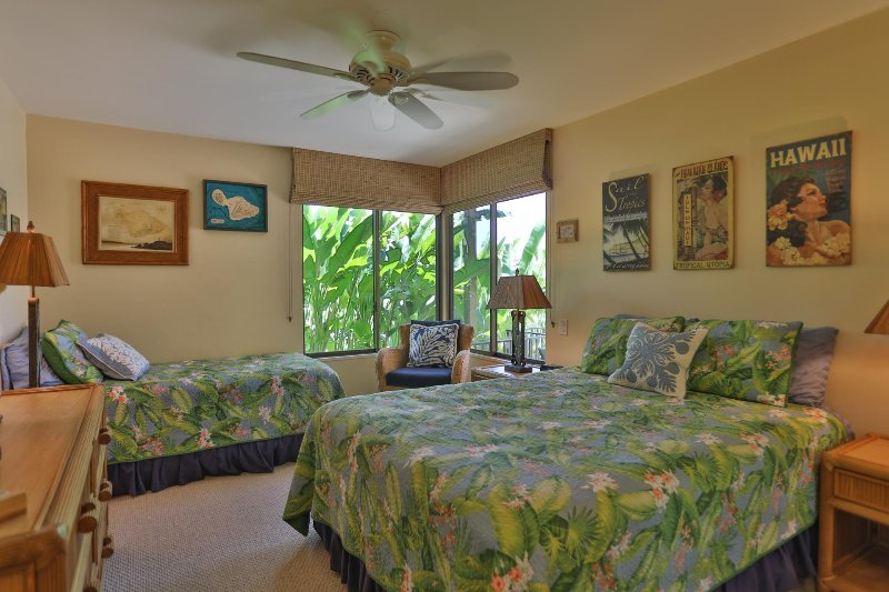Second bedroom features queen and twin beds