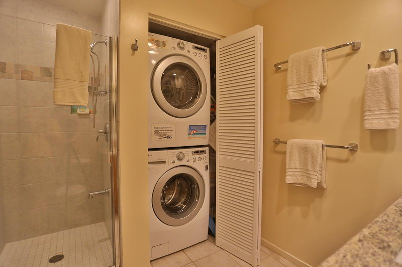 New full-size, front-loading washer and dryer for your use!
