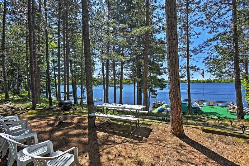 This 2-bedroom, 1-bathroom cabin is located on Upper Gresham Lake.