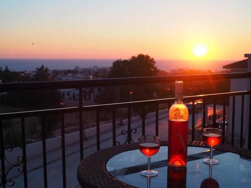 Vista di tramonto dal balcone