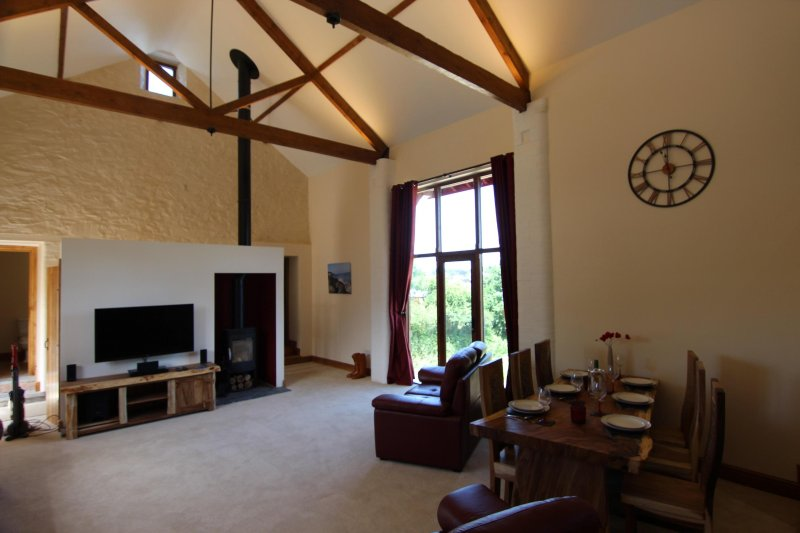 Vaulted ceiling in the lounge