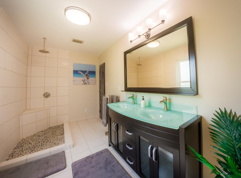 Master bathroom with double vanity and rainfall shower