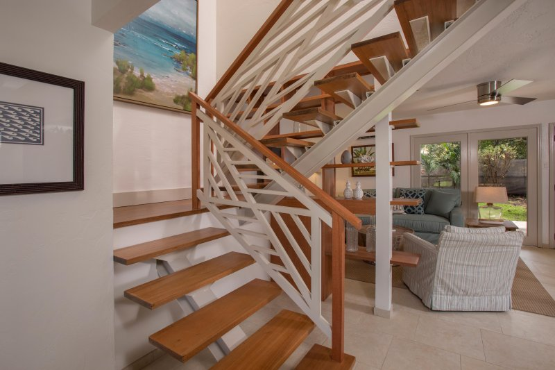Stairway of Puamana Nani leading to 2 bedrooms and 2 baths