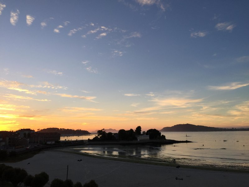 Beautiful sunset views from the floor to the Cies Islands background