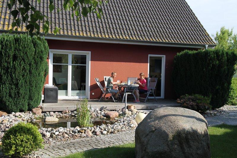 Con vistas a la terraza de la oficina de los apartamentos Ferienwohnanlage Alte Molkerei