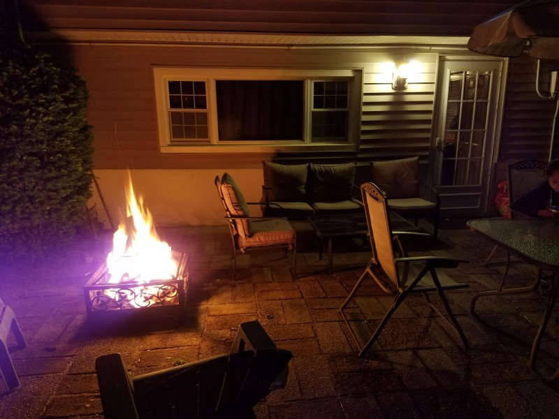Fire pit for roasting marshmallows, warmth, romance or night time relaxation