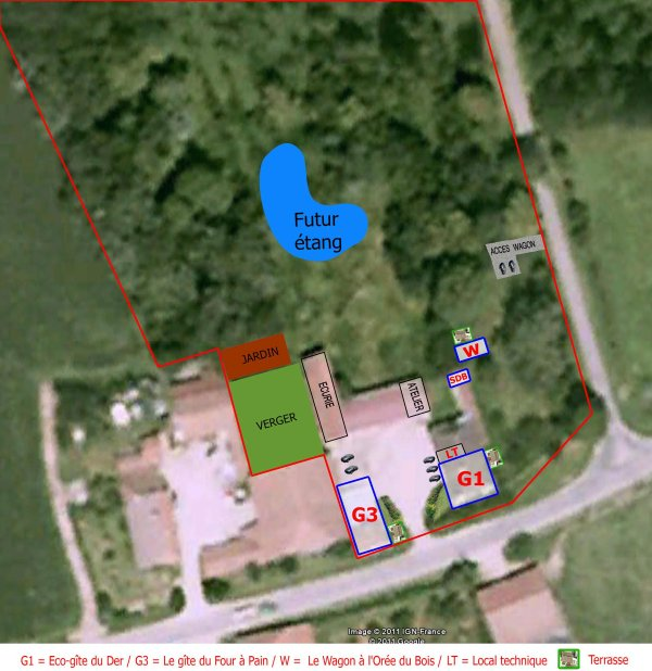 Farm Plans: situation of houses, green spaces and facilities