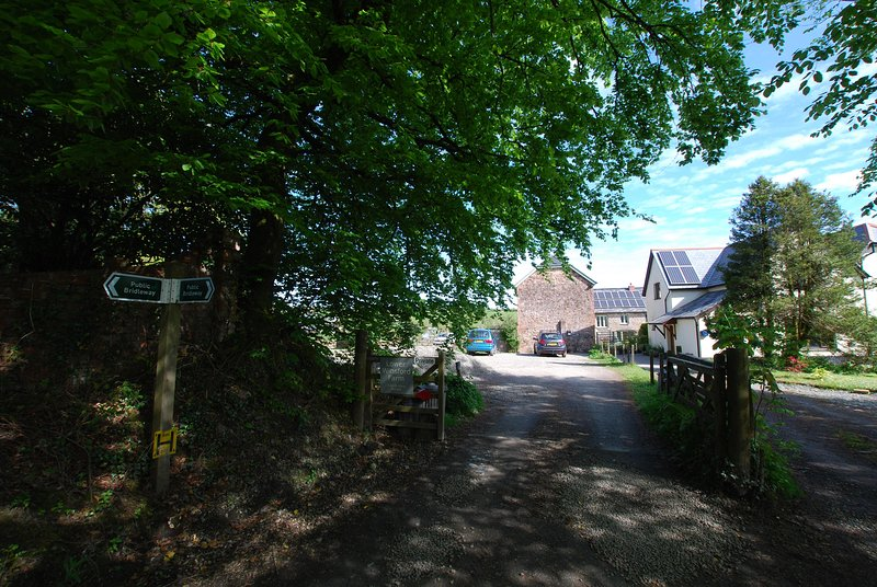 The entrance to Lower Winsford Farm where The Garden House is to be found. Parking is on the left.