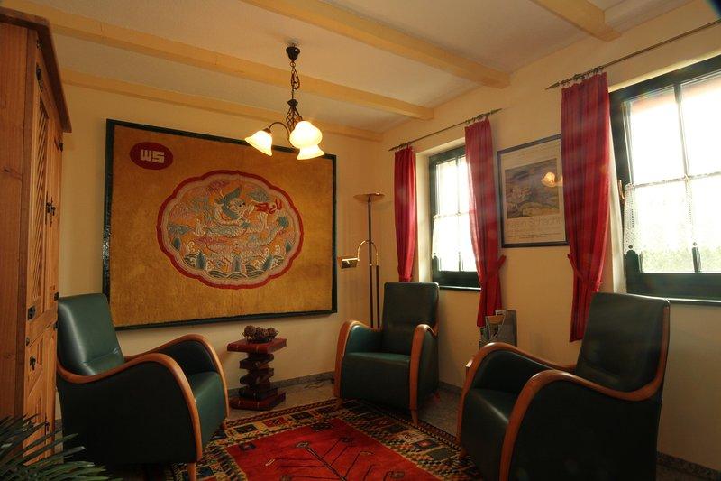 Rincón de lectura en la sala de la leche apartamento Ferienwohnanlage Alte Molkerei