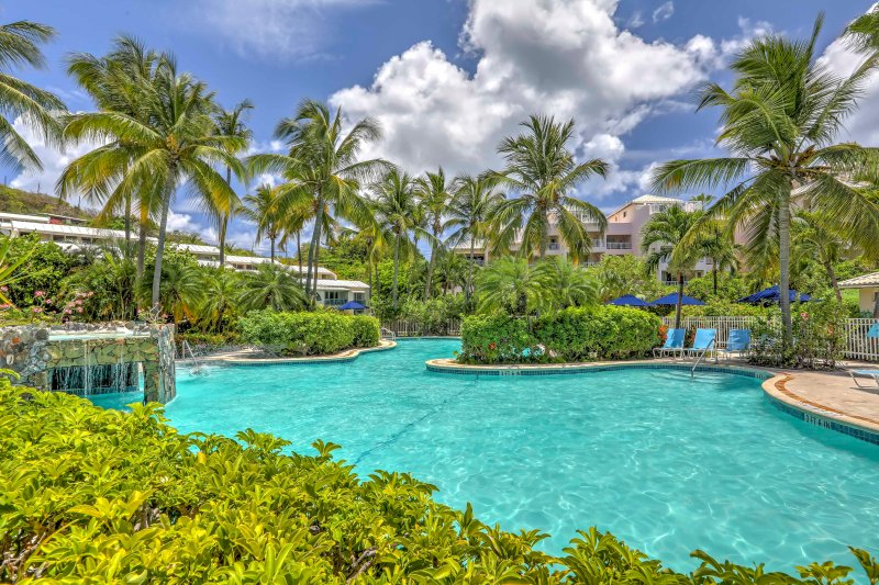 Enjoy lounging by the pristine pool during your stay in St. Thomas!