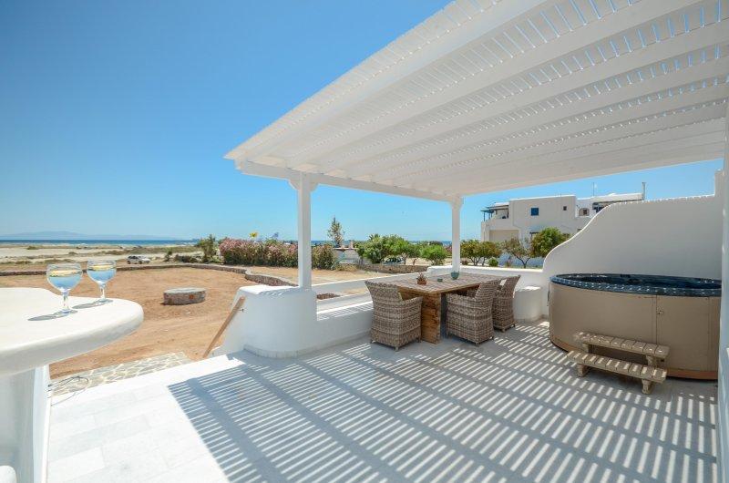 Depis Sea Side beachfront villa with jacuzzi-3 bedroom /Naxos, holiday rental in Mikri Vigla