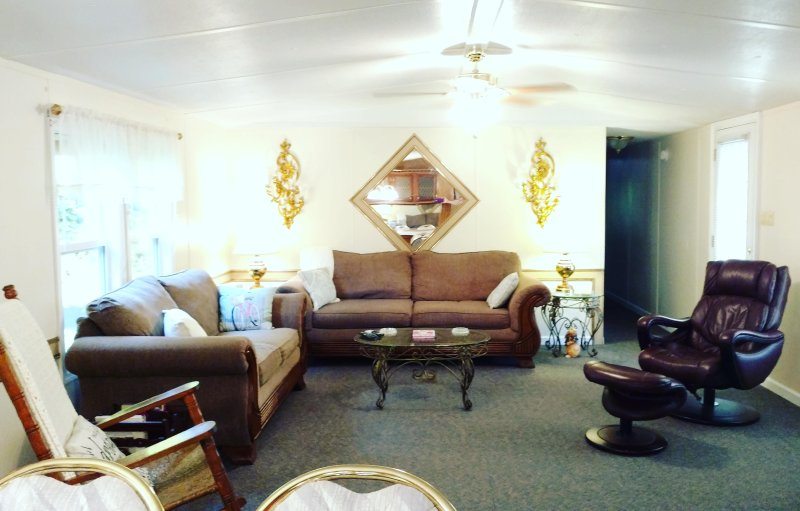 This is our spacious living room. We have a 55' LG TV with Directv in here.