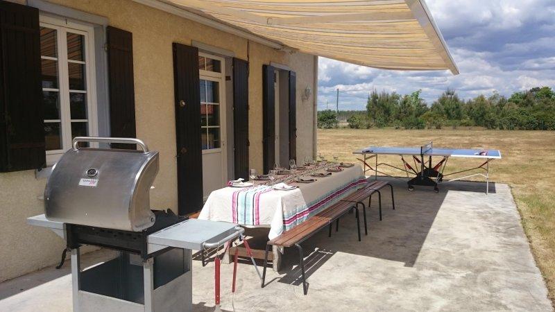 Terraza 54m² mesa de jardín de 12 personas, parrilla de gas, tenis de mesa.