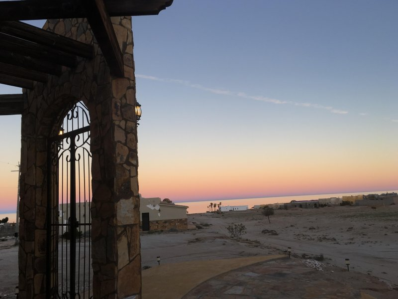 Sitting on the north porch watching the beautiful sunrise - see how close the beach is?