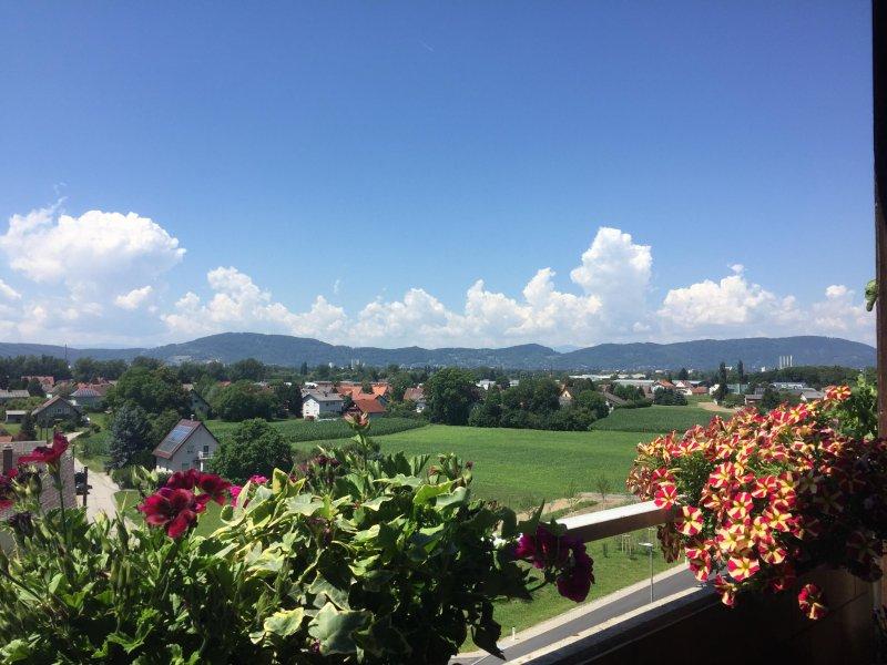 Vue du balcon avec vue sur la campagne