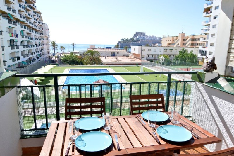 Views from the terrace, pool, beach and castle