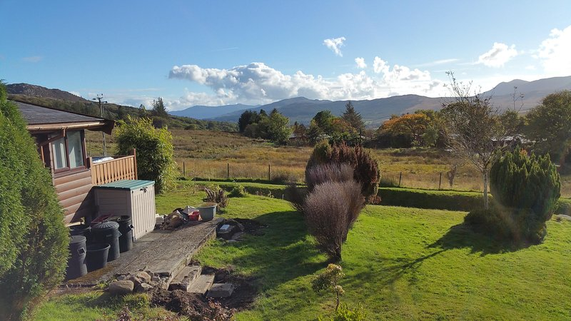 The view of Cader Idris, Diffwys and the Rhinog mountains from the front of the cabin