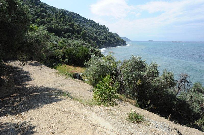 Villa CAMELIA. Vista da estrada privada telhado para baixo em direção ao mar.
