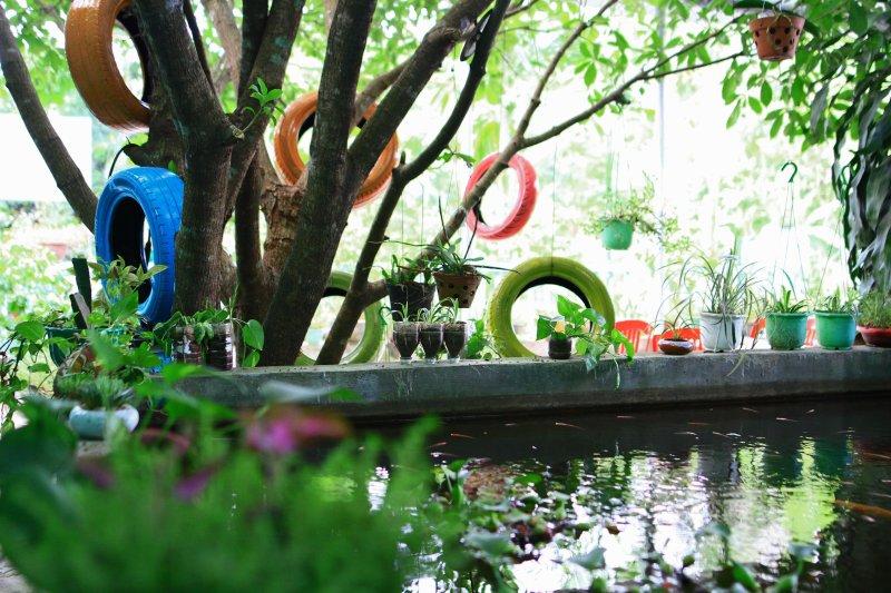 Het meer met de vissen zwemmen, de scène is erg romantisch