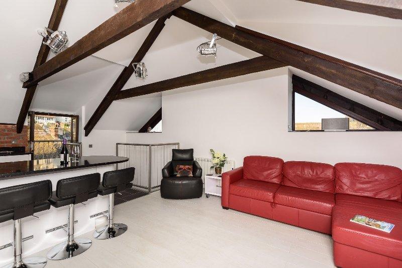 spazio moderno open space soggiorno con poltrone in pelle confortevole.