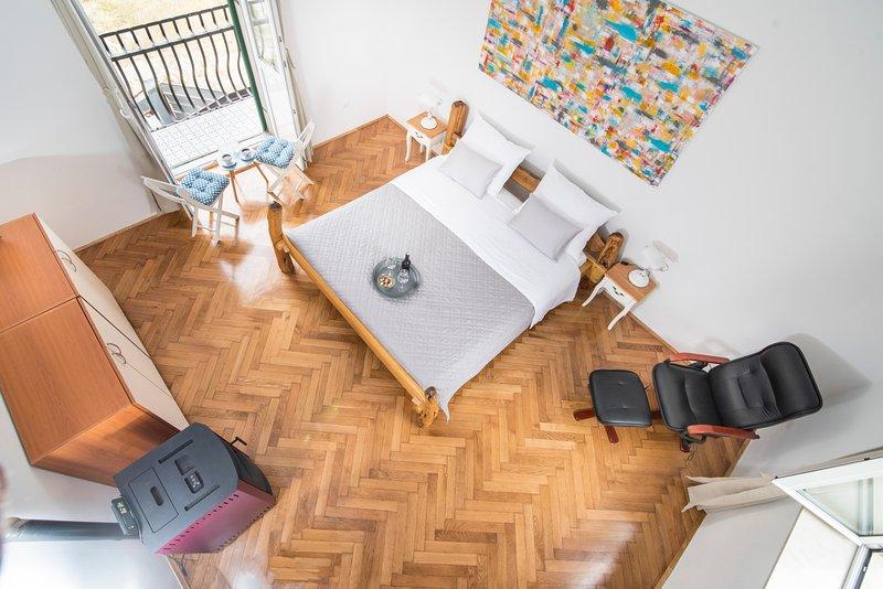 chambre, balcon, lit