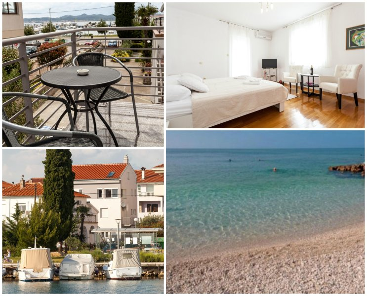 Beach app Rafael, sea view balcony, gated parking, holiday rental in Zadar